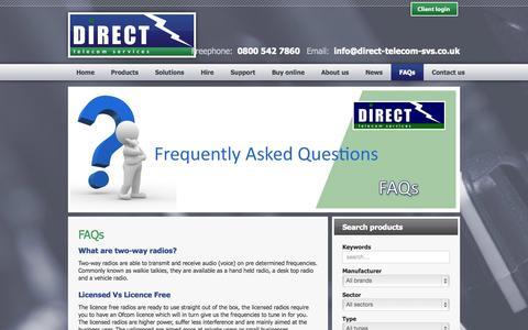 Screenshot of FAQ Page direct-telecom-svs.co.uk - Direct Telecom Services - FAQ - captured Oct. 5, 2014