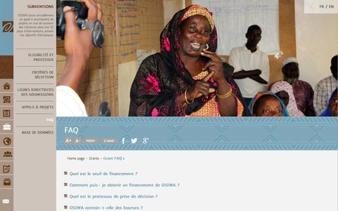 Screenshot of FAQ Page osiwa.org - Grant FAQ's - Osiwa : Open Society Initiative for West Africa - captured Sept. 30, 2014