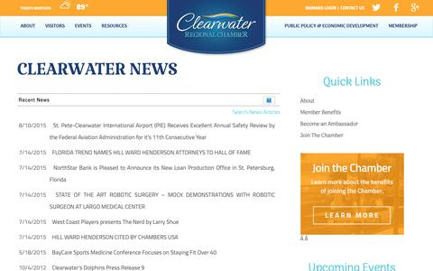 Screenshot of Press Page clearwaterflorida.org - Clearwater  News | Clearwater | Clearwater Regional Chamber of Commerce | Clearwater, FL - captured Oct. 25, 2018