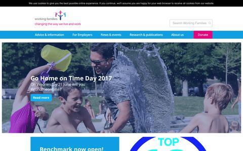 Screenshot of Home Page workingfamilies.org.uk - Working Families   Making work work for all - captured June 19, 2017