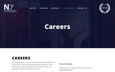 Screenshot of Jobs Page netdes.com - Careers — Network Designs Inc. - captured Feb. 15, 2019