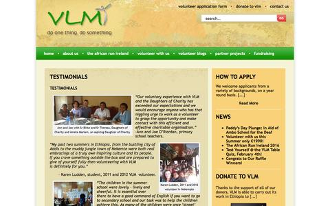 Screenshot of Testimonials Page vlm.ie - testimonials | Charity, Aid work, Africa - captured Feb. 24, 2016