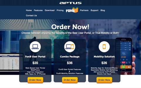 Screenshot of Pricing Page aptus.com - Buy FonB - Mobility | User Portal - captured Nov. 2, 2014