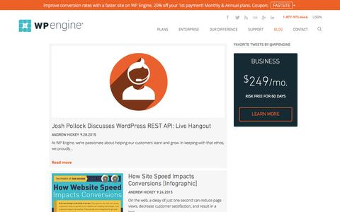 Screenshot of Blog wpengine.com - Managed WordPress hosting news and updates. WP Engine® - captured Sept. 30, 2015