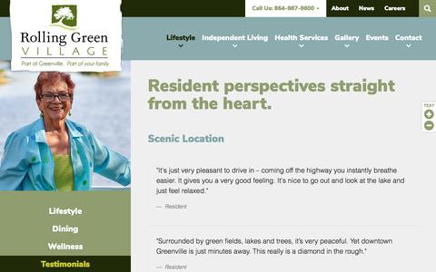 Screenshot of Testimonials Page rollinggreenvillage.com - Testimonials | Rolling Green Village - captured Sept. 21, 2018