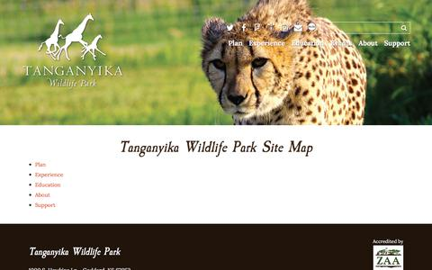 Screenshot of Site Map Page twpark.com - Site Map - Tanganyika Wildlife Park - captured Oct. 27, 2017