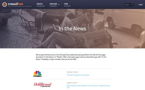 Screenshot of Press Page crowdrise.com - Crowdrise: In The News - captured Dec. 17, 2014