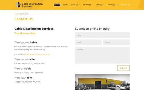 Screenshot of Contact Page cabledistribution.com.au - Contact Us - Cable Distribution Services - captured Oct. 15, 2016