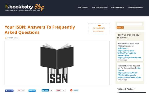 Screenshot of FAQ Page bookbaby.com - Your Book ISBN: Answers To Your Questions | BookBaby Blog - captured Feb. 27, 2017