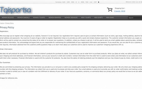 Screenshot of Privacy Page tqisportsagency.com - Privacy Policy - captured May 29, 2019