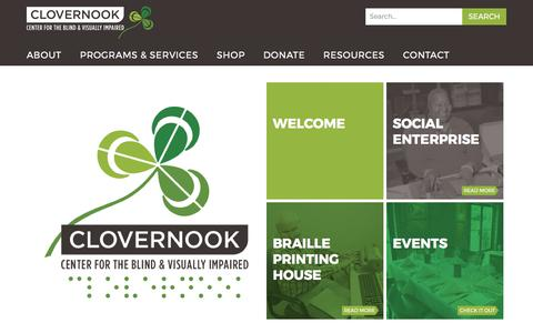 Screenshot of Home Page clovernook.org - Clovernook – Center for the Blind and Visually Impaired - captured Aug. 5, 2017