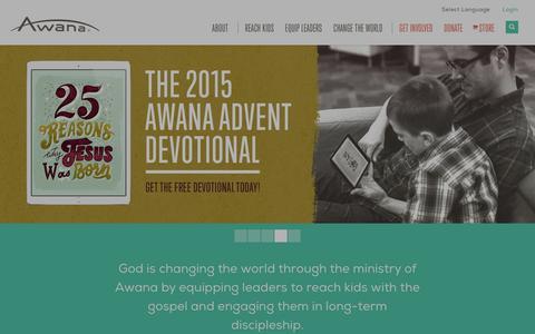 Screenshot of Home Page awana.org - Awana | Children's & Youth Ministry Curriculum - captured Dec. 27, 2015