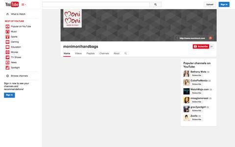 Screenshot of YouTube Page youtube.com - monimonihandbags  - YouTube - captured Oct. 26, 2014