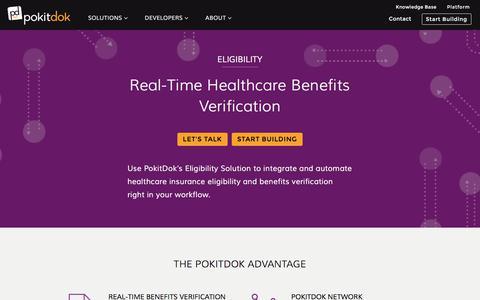 Screenshot of pokitdok.com - Eligibility | PokitDok - captured Aug. 5, 2017