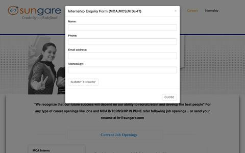 Screenshot of Jobs Page sungare.com - MCA INTERNSHIP IN PUNE, MCA INTERNSHIP, software developer jobs, Sungare Technologies - captured Feb. 16, 2016