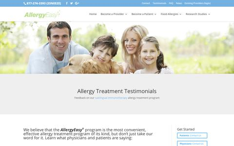 Screenshot of Testimonials Page allergyeasy.com - Allergy Treatment Testimonials - captured Oct. 6, 2017