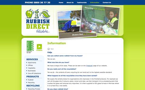 Screenshot of FAQ Page rubbishdirect.co.nz - Waste recycling services for offices, apartments, businesses, hospitality - Auckland - Rubbish Direct - captured Oct. 7, 2014