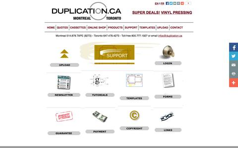 Screenshot of Support Page duplication.ca - Amtech Support Index - captured Sept. 19, 2014
