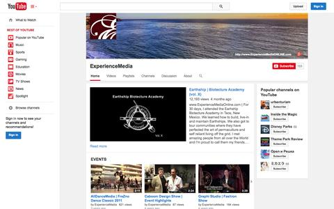 Screenshot of YouTube Page youtube.com - ExperienceMedia  - YouTube - captured Oct. 23, 2014