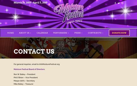 Screenshot of Contact Page moisturefestival.org - CONTACT US - Moisture Festival - captured Sept. 24, 2018