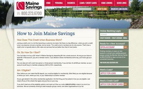 Screenshot of Signup Page mainesavings.com - Maine Savings | How to Join - captured Sept. 26, 2014