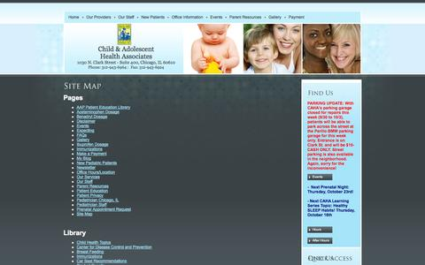Screenshot of Site Map Page cahadr.com - Site Map - Child and Adolescent Health Associates, LTD - Pediatrics for Family Health - captured Oct. 2, 2014