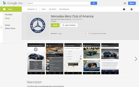 Screenshot of Android App Page google.com - Mercedes-Benz Club of America - Android Apps on Google Play - captured Oct. 27, 2014