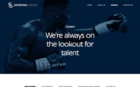 Screenshot of Jobs Page sportingindexgroup.com - Careers / Sporting Group - captured Sept. 21, 2018