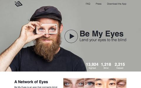 Screenshot of Home Page bemyeyes.org - Be My Eyes ~ Lend Your Eyes to the Blind - captured Jan. 16, 2015