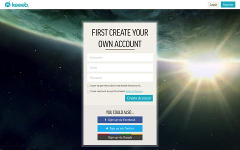 Screenshot of Signup Page keeeb.com - Sign-up on Keeeb - captured Sept. 23, 2014