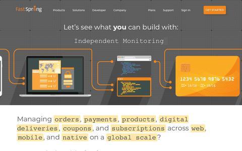 Screenshot of Developers Page fastspring.com - Developers - Start integrating and building with FastSpring - captured Oct. 25, 2018