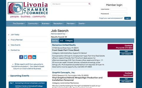Screenshot of Jobs Page livonia.org - Job Search - Livonia Chamber of Commerce,MI - captured Aug. 24, 2017