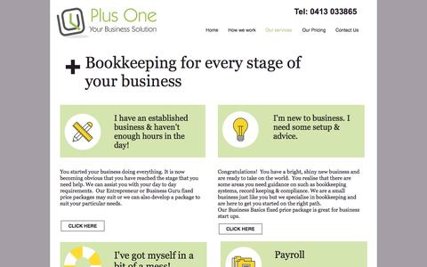 Screenshot of Services Page plusone.net.au - Bookkeeping services | Plus One Business Solutions - captured Nov. 8, 2016