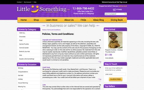 Screenshot of Terms Page littlesomething.com - Policies, Terms and Conditions: - captured Oct. 3, 2014