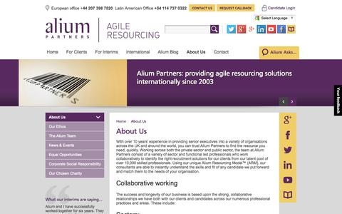 Screenshot of About Page aliumpartners.com - Interim Management Consultants | About Us | Alium Partners - captured Oct. 4, 2014