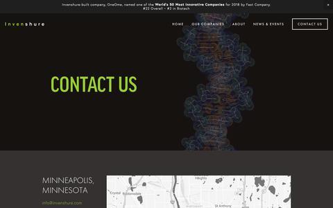 Screenshot of Contact Page invenshure.com - Contact Us — Invenshure - captured Oct. 12, 2018