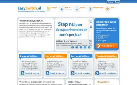 Screenshot of Home Page easyswitch.nl - Energie Vergelijken, Energie Overstappen. Onafhankelijk. - captured Sept. 19, 2014