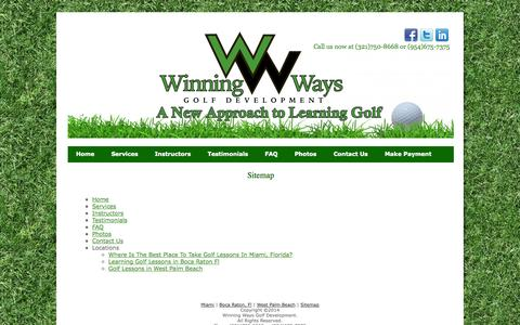 Screenshot of Site Map Page winningwaysgolf.com - Sitemap   Winning Ways Golf Development - captured Oct. 7, 2014