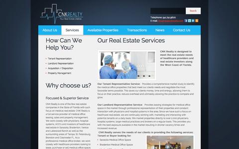 Screenshot of Services Page cnkrealty.com - Healthcare Real Estate Services: Sarasota, Bradenton, Lakewood RanchCNK Realty - captured Oct. 1, 2014