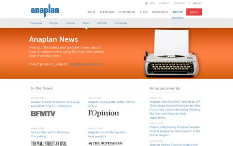 Screenshot of Press Page anaplan.com - Read all the latest news from Anaplan - captured July 20, 2014