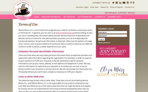 Screenshot of Terms Page mochamoms.org - Terms of Use - Mocha Moms, Inc. - captured Nov. 2, 2017