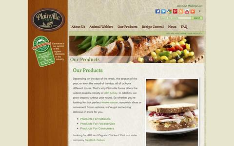 Screenshot of Products Page plainvillefarms.com - All Natural, Hormone- & Antibiotic-Free Turkey Products - captured Jan. 29, 2016