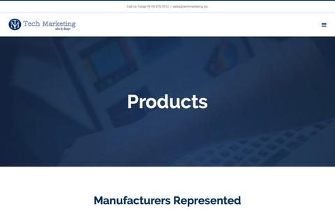 Screenshot of Products Page techmarketing.biz - Products – Tech Marketing - captured Dec. 10, 2018