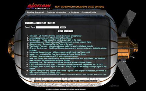 Screenshot of Press Page bigelowaerospace.com - Bigelow Aerospace - captured Sept. 23, 2014