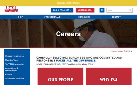Screenshot of Jobs Page tapinsulation.com - Careers - TAP® Pest Control Insulation - captured Sept. 21, 2018