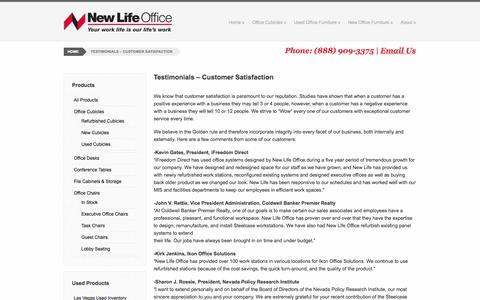 Screenshot of Testimonials Page newlifeoffice.com - Testimonials - Customer Satisfaction - New Life Office - captured Oct. 26, 2014