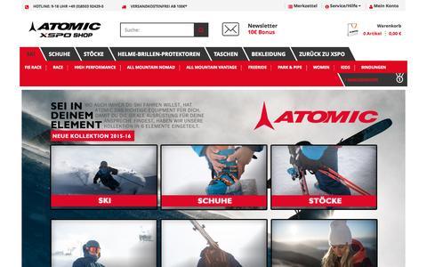 Screenshot of Home Page atomic-xspo.de - Atomic Ski - Im Online Shop günstig kaufen - captured Sept. 19, 2015