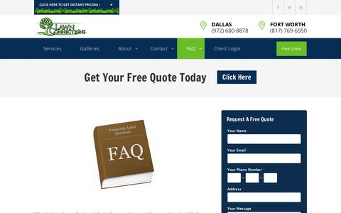 Screenshot of FAQ Page lawnconnections.com - Frequently Asked Questions - Lawn Connections, LLC - captured Sept. 27, 2018