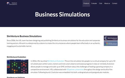 Screenshot of Products Page simventure.com - SimVenture Business Simulations Software Range | SimVenture - captured July 5, 2018