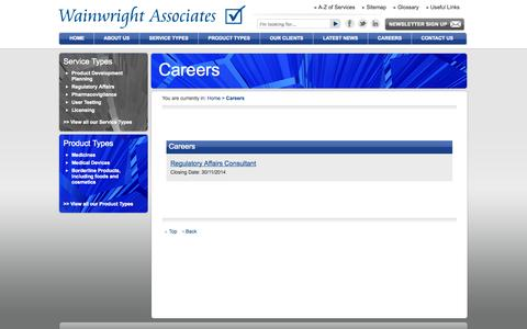 Screenshot of Jobs Page wainwrightassociates.co.uk - Careers - Wainwright Associates - captured Oct. 27, 2014